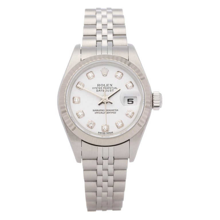 Rolex Datejust 26 79174 Ladies White Gold & Stainless Steel Watch For Sale