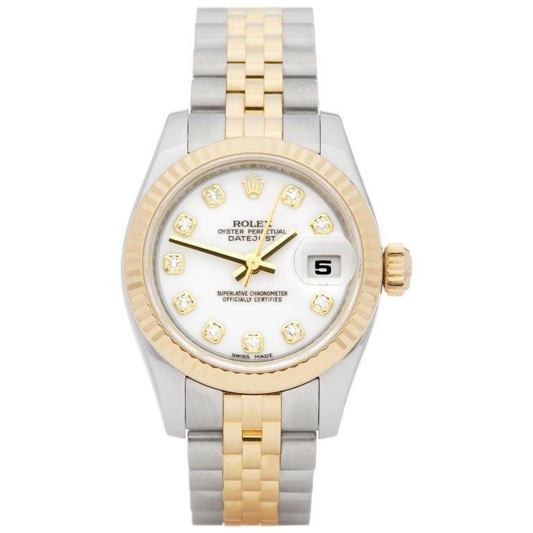 Rolex DateJust 26 Diamond Stainless Steel and Yellow Gold 179173 For Sale