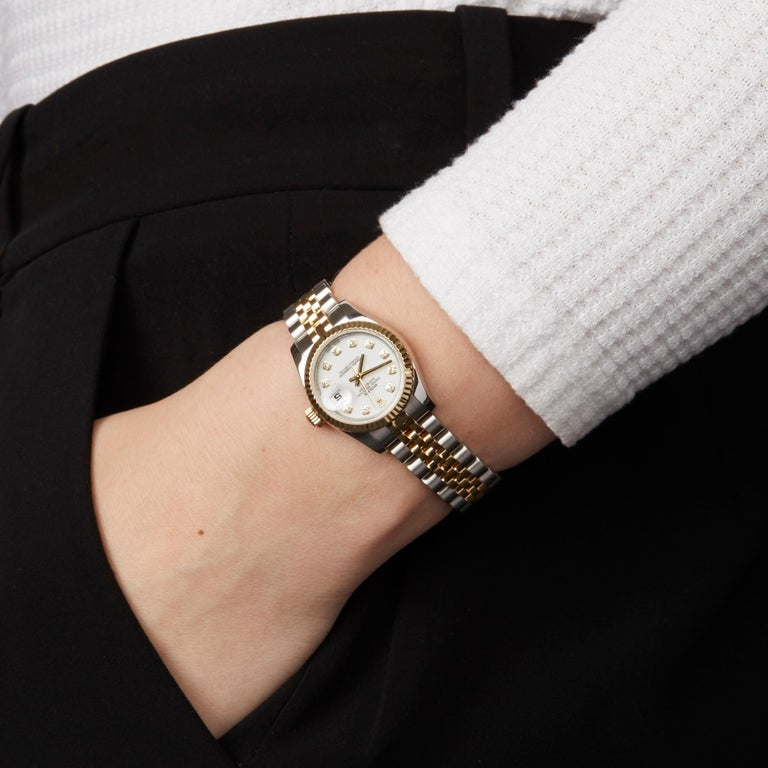 Rolex DateJust 26 Diamond Stainless Steel and Yellow Gold 179173 For Sale 4