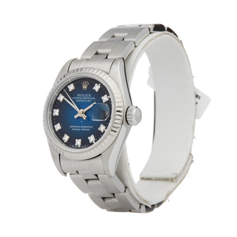 Ref: W007091 Manufacturer: Rolex Model: Datejust Model Ref: 69174 Age: 1978 Gender: Mens Complete With: Xupes Presentation Box Dial: Blue Diamond Dot Glass: Sapphire Crystal Movement: Automatic Water Resistance: To Manufacturers Specifications Case: