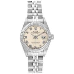 Rolex Datejust 26 Steel White Gold Ivory Roman Dial Ladies Watch 69174
