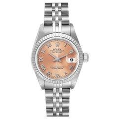 Rolex Datejust 26 Steel White Gold Salmon Dial Ladies Watch 79174
