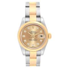 Rolex Datejust 26 Steel Yellow Gold Diamond Ladies Watch 179163