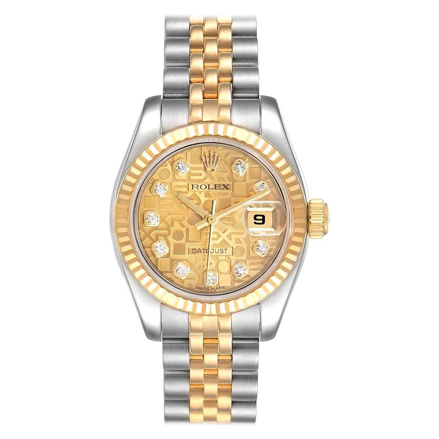 Rolex Datejust 26 Steel Yellow Gold Diamond Ladies Watch 179173 Box Card