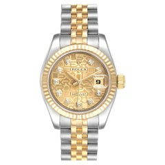 Rolex Datejust 26 Steel Yellow Gold Diamond Ladies Watch 179173 Box Papers