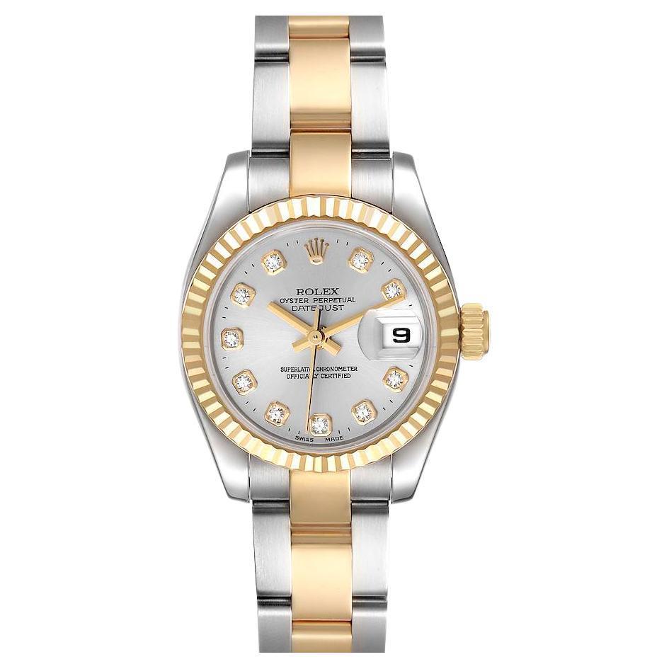 Rolex Datejust Steel Yellow Gold Diamond Ladies Watch 179173 Box Papers