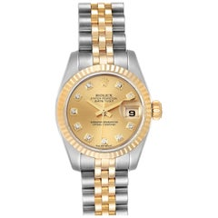 Rolex Datejust 26 Steel Yellow Gold Diamond Ladies Watch 179173