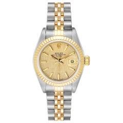 Rolex Datejust 26 Steel Yellow Gold Linen Dial Ladies Watch 69173