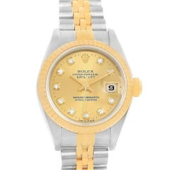 Rolex Datejust 26 Yellow Gold Steel Diamond Dial Ladies Watch 69173