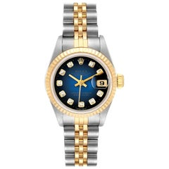 Rolex Datejust Steel Yellow Gold Diamond Ladies Watch 69173 Box Papers