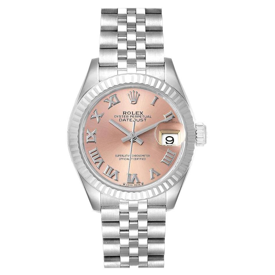 Rolex Datejust 28 Steel White Gold Pink Dial Ladies Watch 279174 Box Card