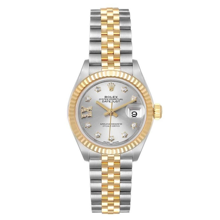 Rolex Datejust 28 Steel Yellow Gold Diamond Ladies Watch 279173 Box Card. Officially certified chronometer self-winding movement. Stainless steel oyster case 28.0 mm in diameter. Rolex logo on a 18K yellow gold crown. 18k yellow gold fluted bezel.