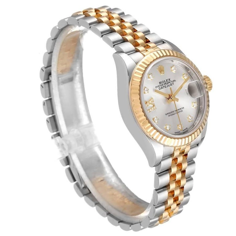 Rolex Datejust 28 Steel Yellow Gold Diamond Ladies Watch 279173 Box Card In Excellent Condition In Atlanta, GA