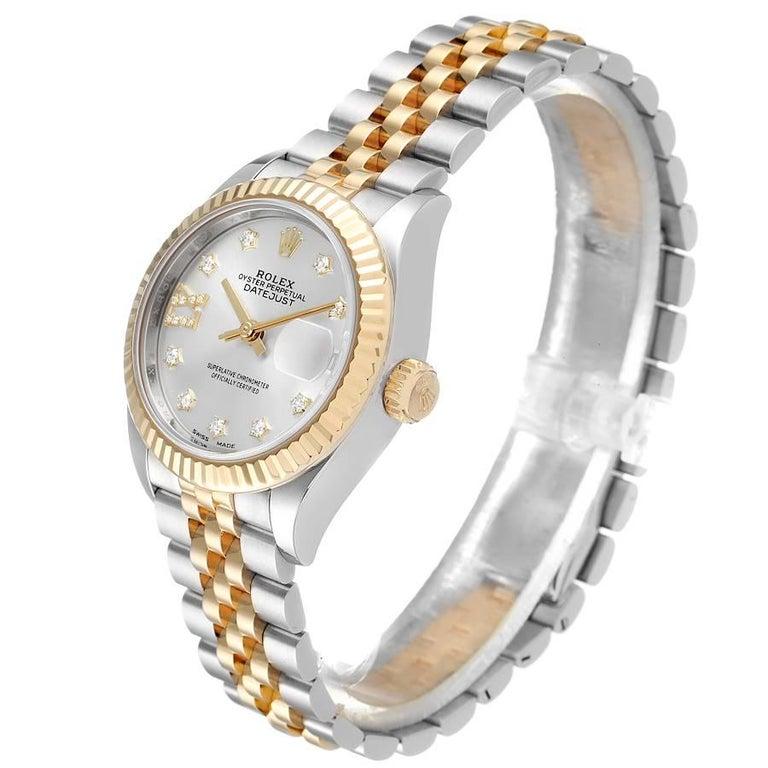 Women's Rolex Datejust 28 Steel Yellow Gold Diamond Ladies Watch 279173 Box Card