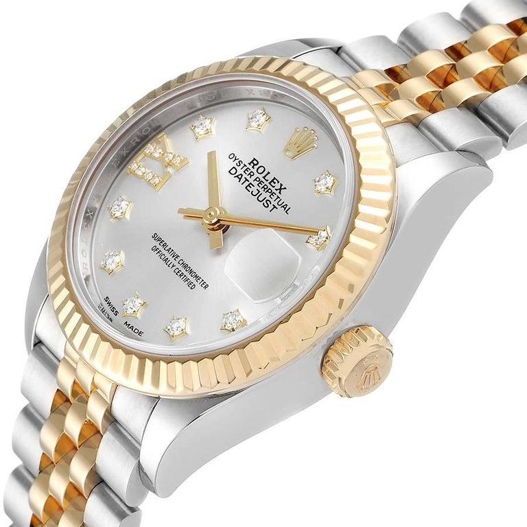 Rolex Datejust 28 Steel Yellow Gold Diamond Ladies Watch 279173 Box Card 1