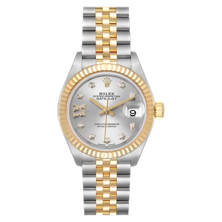 Rolex Datejust 28 Steel Yellow Gold Diamond Ladies Watch 279173 Box Card