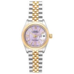 Rolex Datejust 28 Steel Yellow Gold Lilac Diamond Dial Ladies Watch 279173