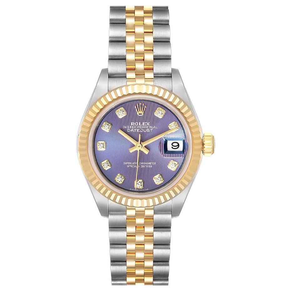 Rolex Datejust 28 Steel Yellow Gold Lilac Diamond Ladies Watch 279173 Unworn