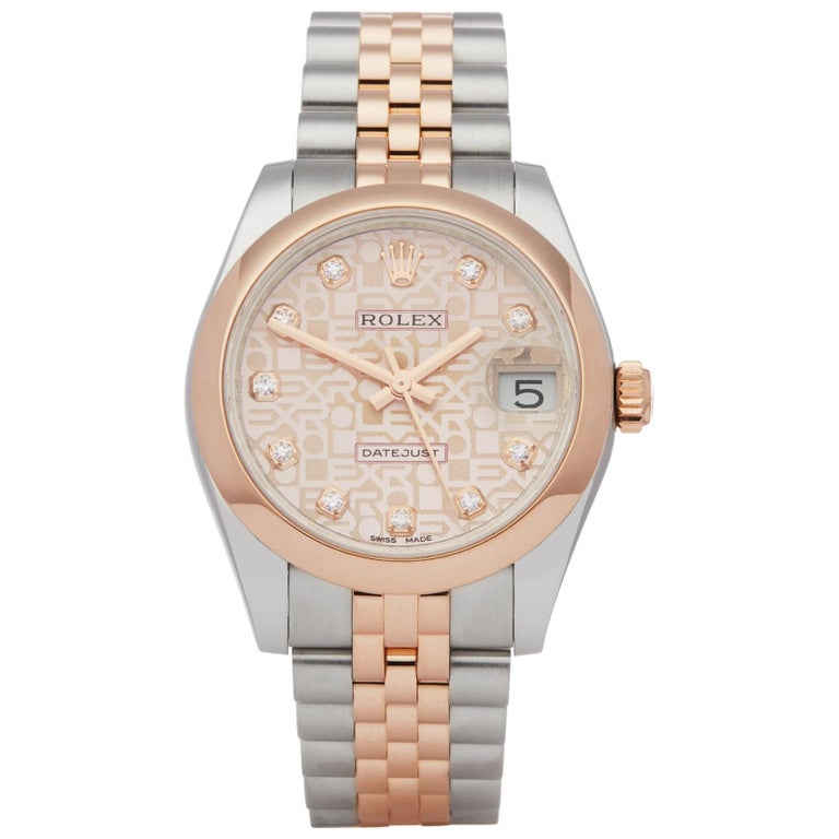Rolex Datejust 31 178241 Ladies Stainless Steel & Rose Gold Jubilee Diamond Dial For Sale