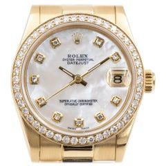 Rolex Datejust 31 68278, 18 Karat Gold and Diamond Ladies Watch, circa 1988