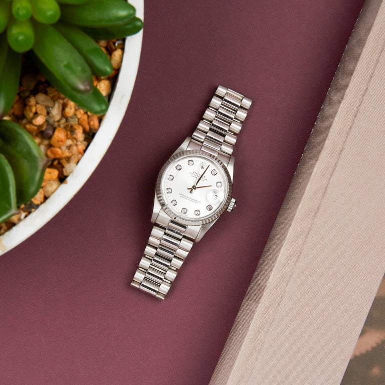 Rolex Datejust 31 68279 Ladies White Gold Diamond Watch For Sale 4