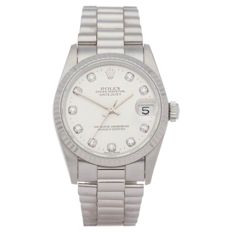 Rolex Datejust 31 68279 Ladies White Gold Diamond Watch For Sale