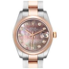 Rolex Datejust 31 Midsize Steel Rose Gold MOP Diamond Ladies Watch 178241