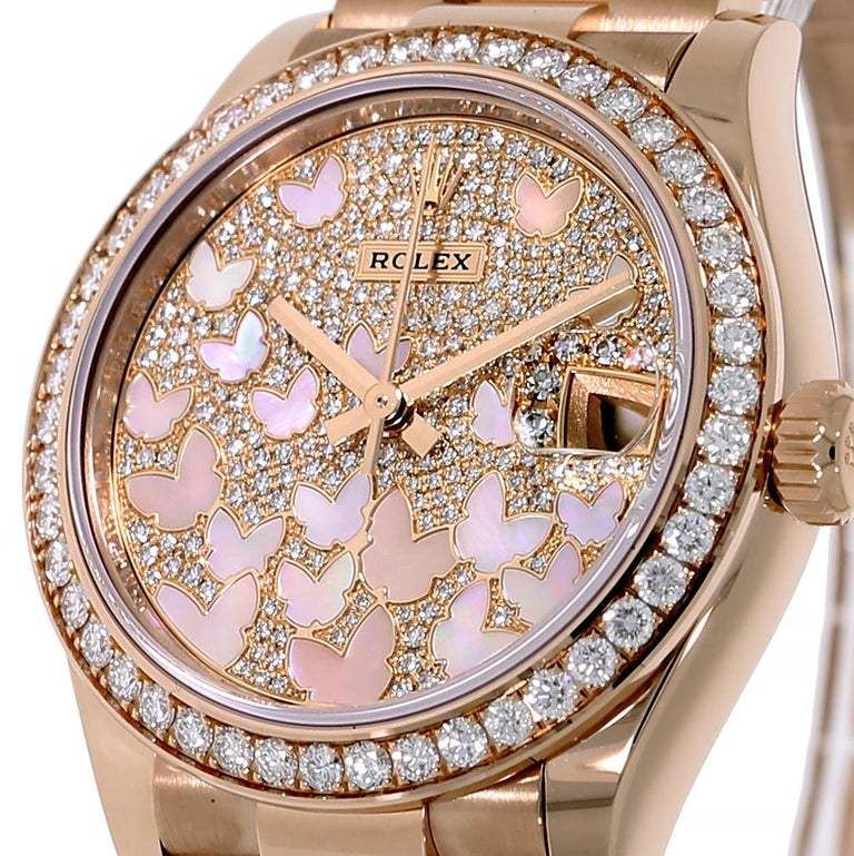 Modern Rolex Datejust 31 Rose Gold Mother of Pearl Butterfly Pave Dial Watch 278285RBR For Sale