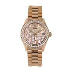 Rolex Datejust 31 Rose Gold Mother of Pearl Butterfly Pave Dial Watch 278285RBR