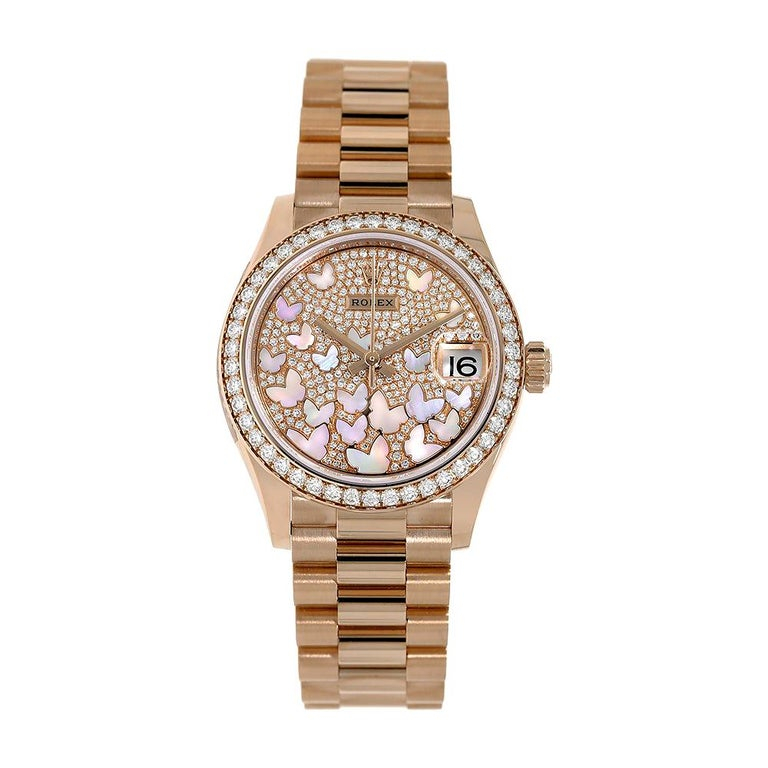 Rolex Datejust 31 Rose Gold Mother of Pearl Butterfly Pave Dial Watch 278285RBR For Sale