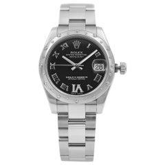Rolex Datejust 31 Steel Gold Diamond Black Dial Automatic Ladies Watch 178344