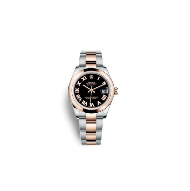 Rolex Datejust Stainless Steel and Rose Gold Ladies Watch 178241 Blk Roman In New Condition For Sale In Wilmington, DE
