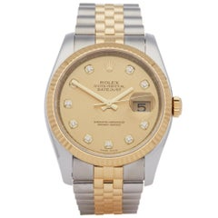 Rolex Datejust 36 116233 Unisex Stainless Steel and Yellow Gold Diamond Watch
