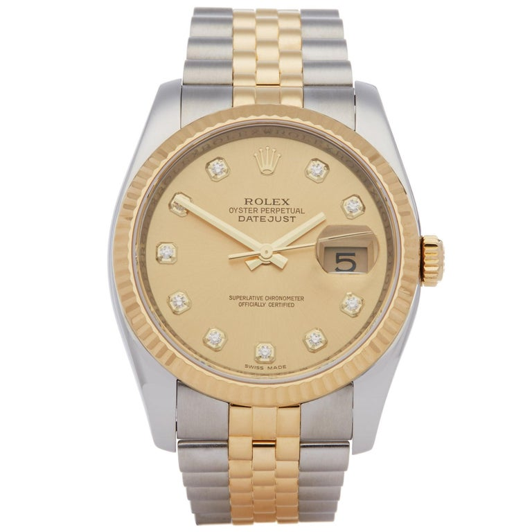 Rolex Datejust 36 116233 Unisex Stainless Steel and Yellow Gold Diamond Watch For Sale