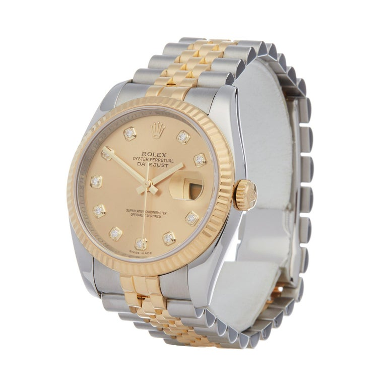 Xupes Reference: W007507 Manufacturer: Rolex Model: Datejust Model Variant: 36 Model Number: 116233 Age: 2008 Gender: Unisex Complete With: Rolex Box  Dial: Champagne With Diamond Markers Glass: Sapphire Crystal Case Size: 36mm Case Material: