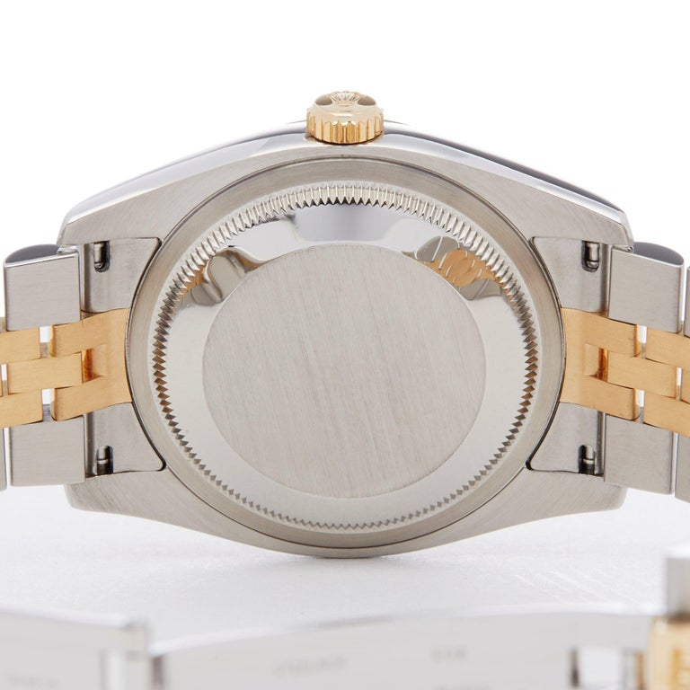 Rolex Datejust 36 116233 Unisex Stainless Steel and Yellow Gold Diamond Watch For Sale 2