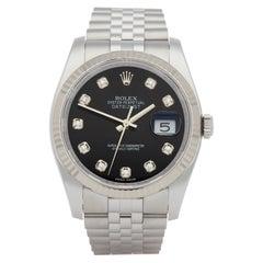 Rolex Datejust 36 116234 Men's Stainless Steel Diamond Stickered NOS Watch