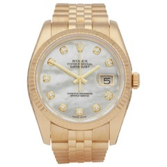 Rolex Datejust 36 116238 Unisex Yellow Gold Diamond Watch