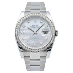 Rolex Datejust 36, 116244, White Mother of Pearl Dial and Diamond Bezel