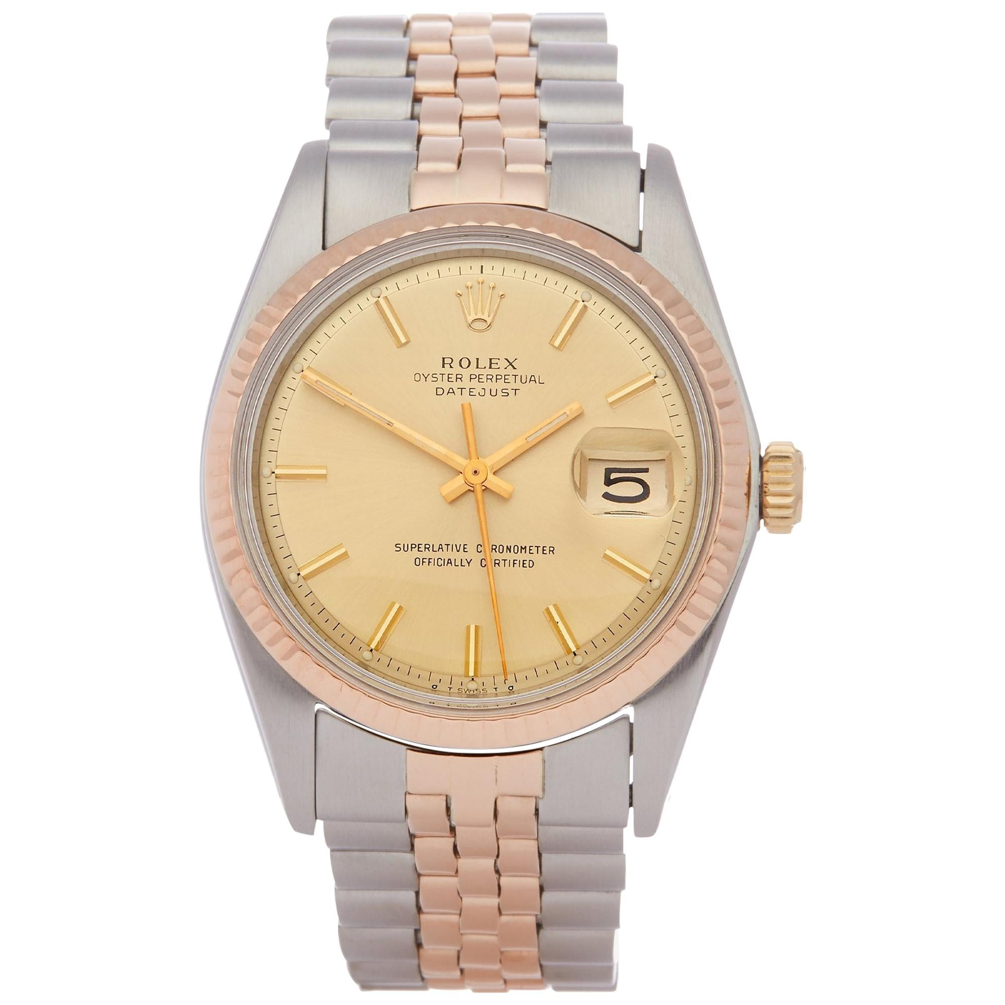 Rolex Datejust 36 1601 Men's Stainless Steel and Rose Gold Watch