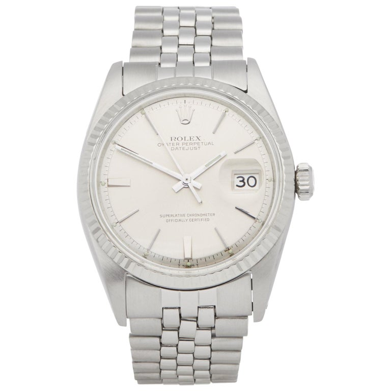 Rolex Datejust 36 1601 Men's Stainless Steel Step Dial Watch For Sale