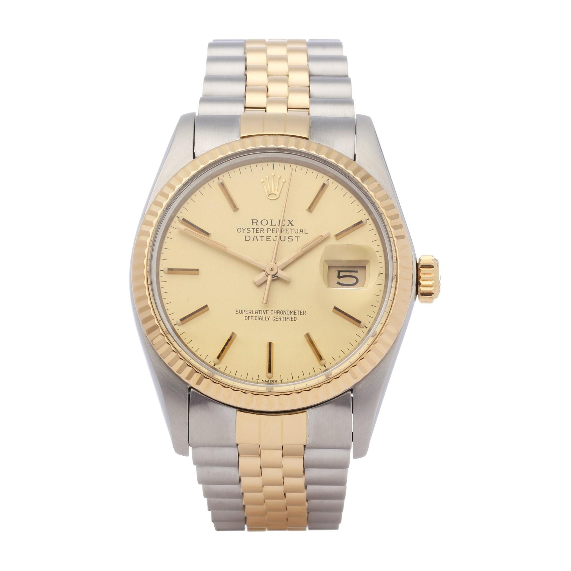 Rolex Datejust 36 16013 Unisex Yellow Gold & Stainless Steel Watch