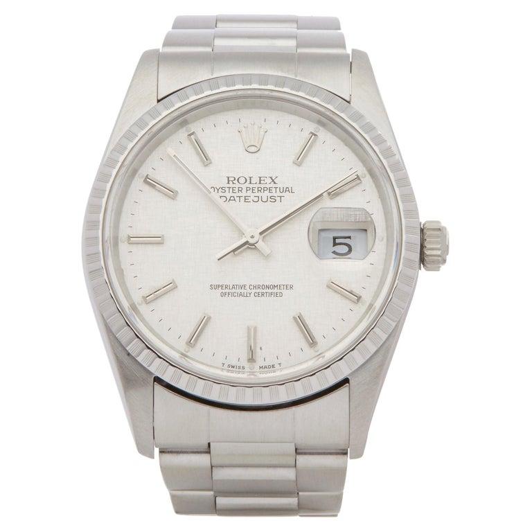 Rolex Datejust 36 16220 Unisex Stainless Steel Linen Dial Watch