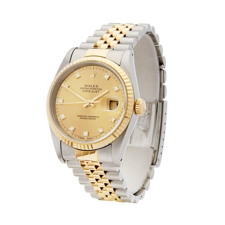 Ref: W5035 Manufacturer: Rolex Model: Datejust Model Ref: 16233 Age:  Gender: Mens Complete With: Xupes Presenation Pouch Dial: Champagne Diamond Markers Glass: Sapphire Crystal Movement: Automatic Water Resistance: To Manufacturers