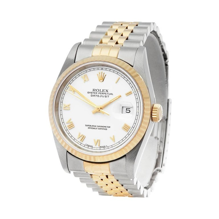 Ref: W5145 Manufacturer: Rolex Model: Datejust Model Ref: 16233 Age: 10th December 1996 Gender: Mens Complete With: Xupes Presentation Box & Guarantee Dial: White Roman  Glass: Sapphire Crystal Movement: Automatic Water Resistance: To Manufacturers
