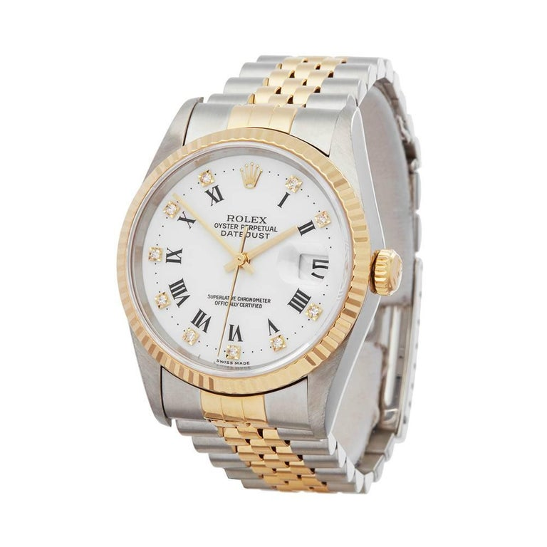 Ref: W5152 Manufacturer: Rolex Model: Datejust Model Ref: 16233 Age: 1st March 1997 Gender: Mens Complete With: Xupes Presentation Box & Guarantee Dial: White Diamond Glass: Sapphire Crystal Movement: Automatic Water Resistance: To Manufacturers