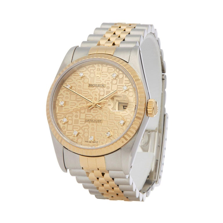 Xupes Reference: W6694 Manufacturer: Rolex Model: Datejust Model Variant: 36 Model Number: 16233 Age: 1993 Gender: Men Complete With: Rolex Box & Guarantee Dial: Champagne With Diamond Markers Glass: Sapphire Crystal Case Size: 36mm Case Material: