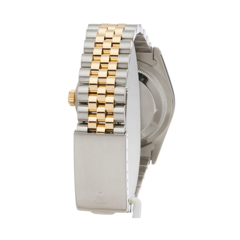 Women's or Men's Rolex Datejust 36 16233 Men's Stainless Steel and Yellow Gold Diamond Watch