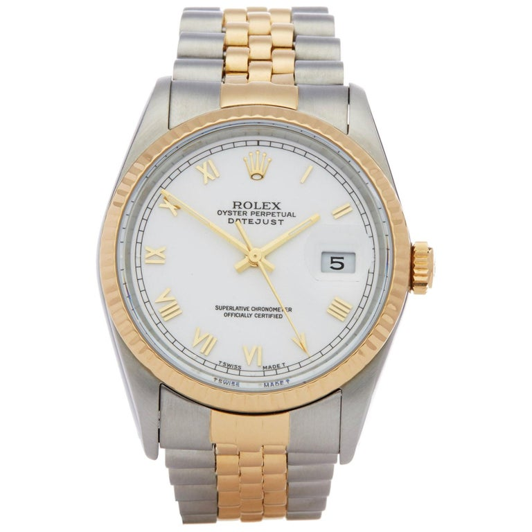 Rolex Datejust 36 16233 Unisex Stainless Steel and Yellow Gold Watch For Sale