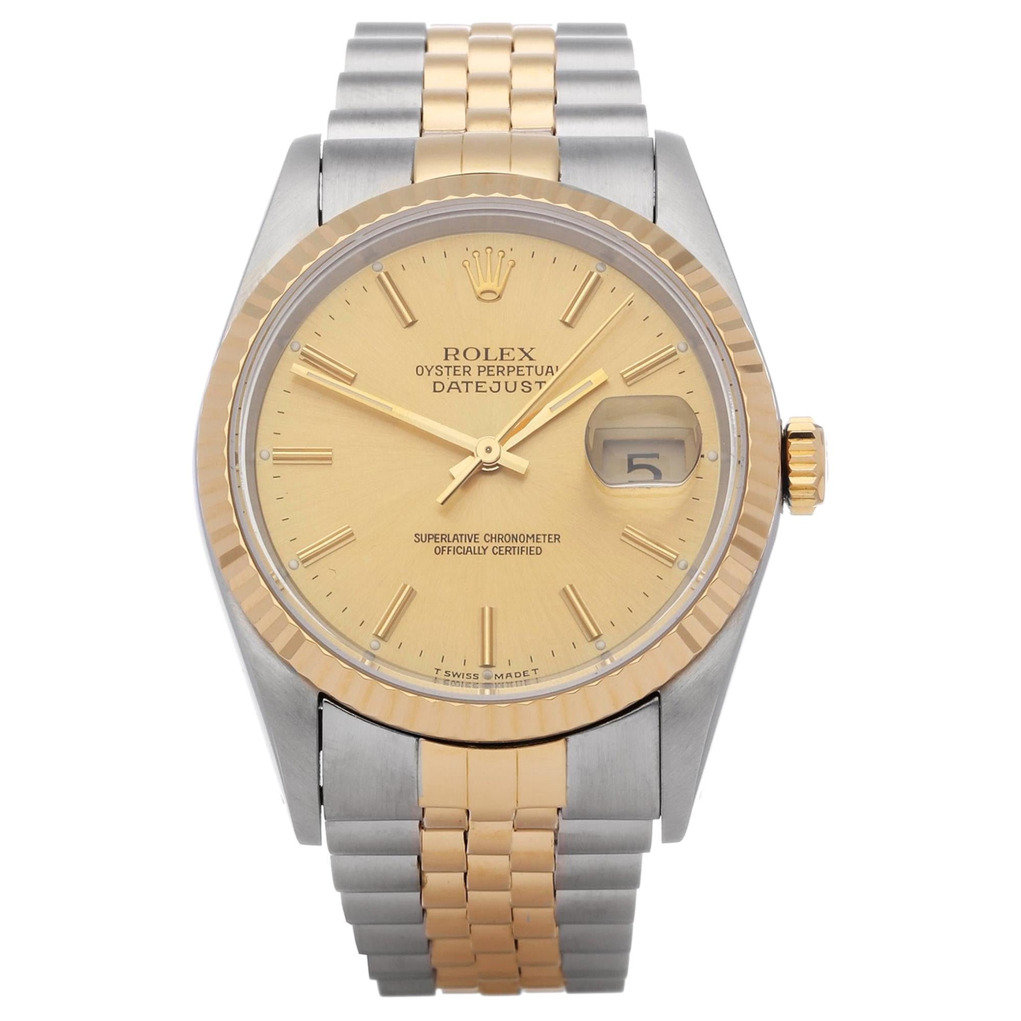 Rolex Datejust 36 16233 Unisex Yellow Gold & Stainless Steel Watch